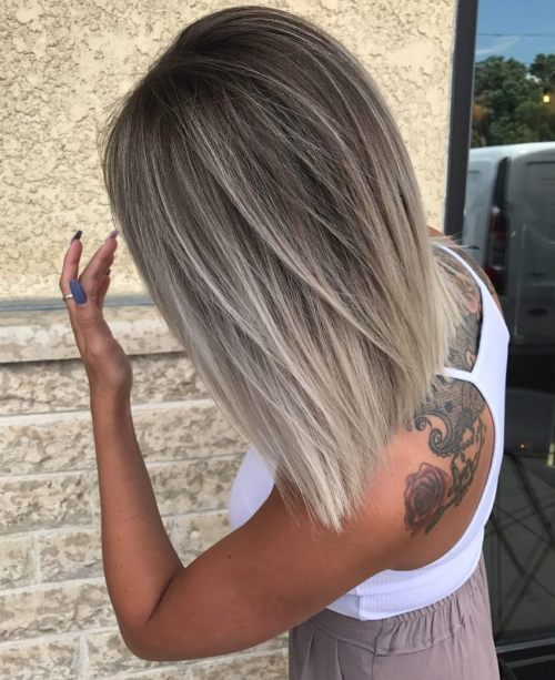 Long Bob With Silver Blonde Highlights