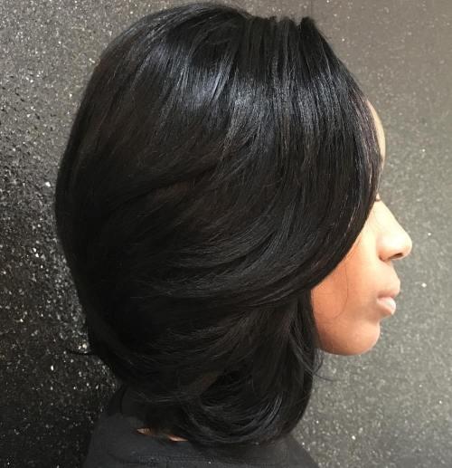 Medium Black Sew-In Hairstyle