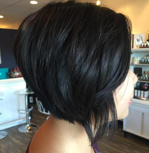Short Black Bob With Layers