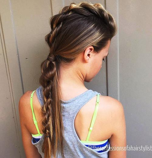 simple fauxhawk hairstyle for long hair