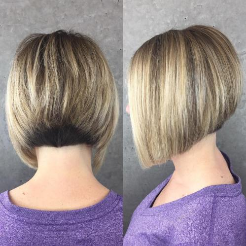 Bronde Stacked Bob With Nape Undercut
