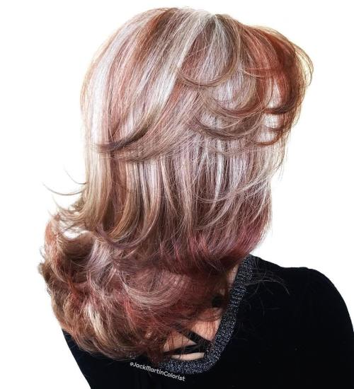 Burgundy Hair With Silver Balayage