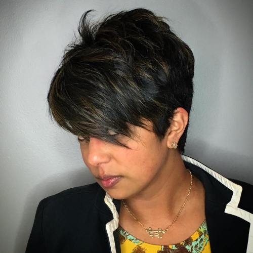 feathered asymmetrical pixie haircut