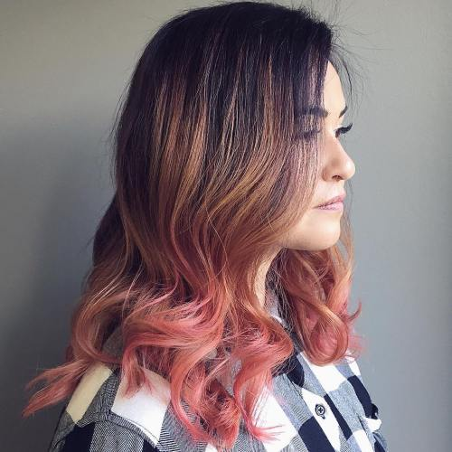 black hair with caramel and pink balayage