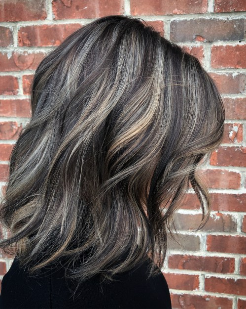 Brunette Hair With Silver Balayage