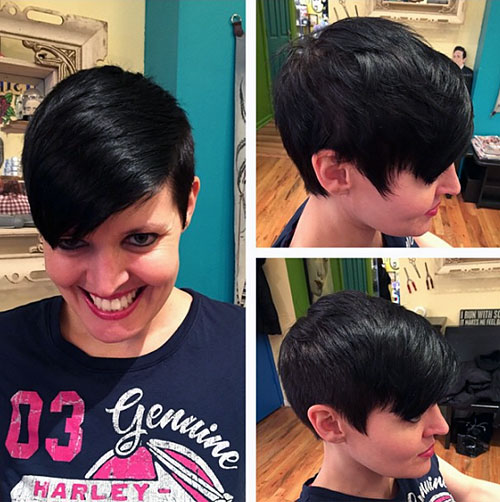 asymmetrical dark brown pixie