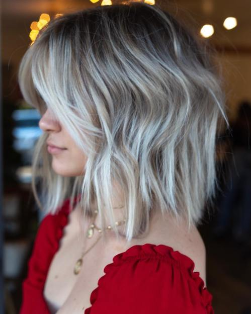 Silver Blonde Balayage On Dark Brown Hair