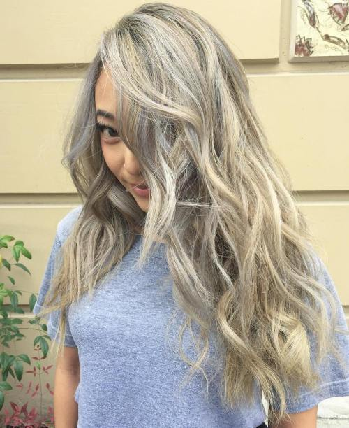 Long Gray Hair With Blonde Highlights