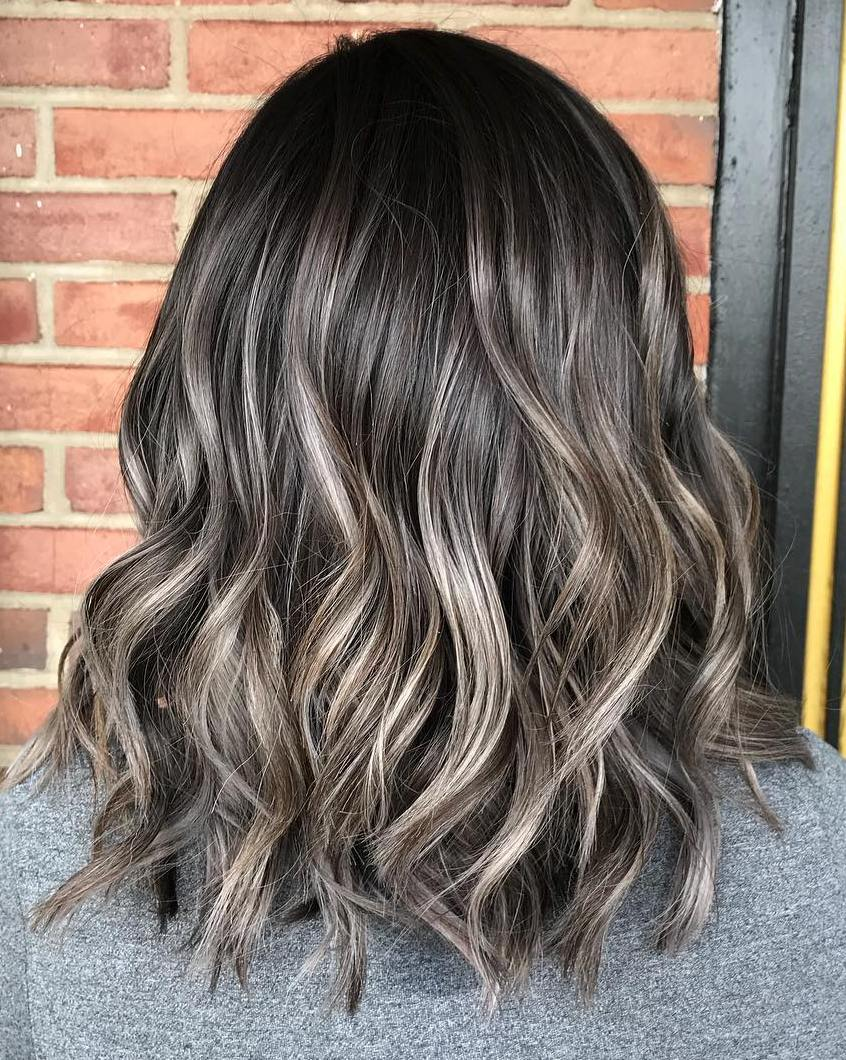 60 Ideas of Gray and Silver Highlights on Brown Hair