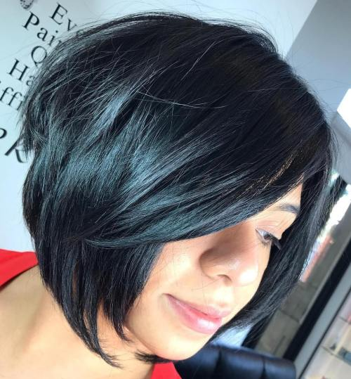 Stacked Bob Hairstyle 2017 layered curly inverted wedge hair layered blond stacked bob hairstyle Black Layered Chin Length Bob