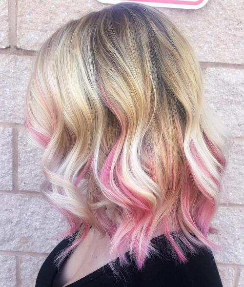 40 best pink highlights ideas for 2018 blonde lob with pastel pink highlights pmusecretfo Choice Image