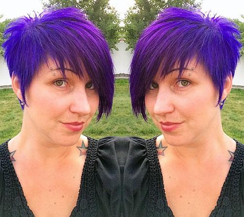 purple chopped asymmetrical pixie