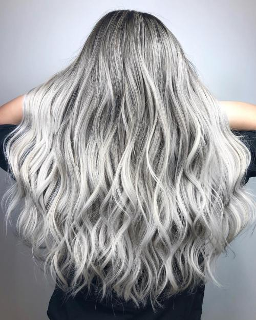 Wavy White And Gray Balayage Hair