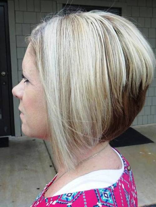 blonde stacked bob with brown underlayer