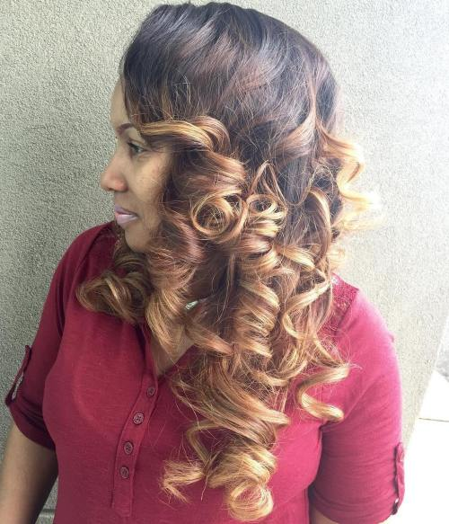 Curly Sew In Hairstyle With Ombre