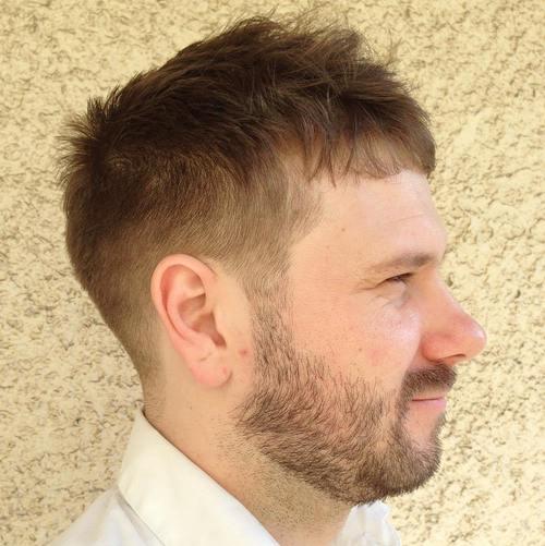 tousled Caesar Haircut style