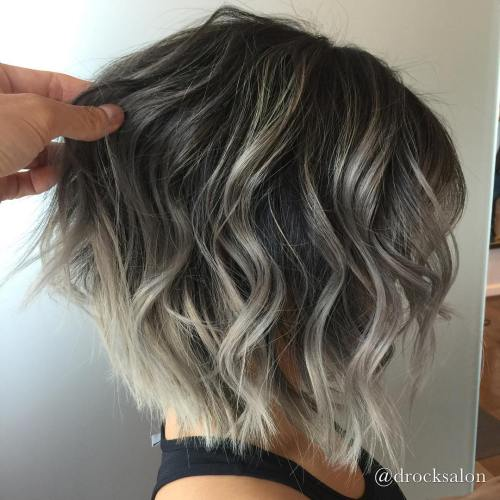 Subtle Gray Balayage For Brunette Bob