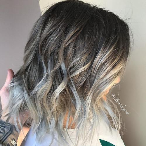 Ash Brown Bob With Gray Ends