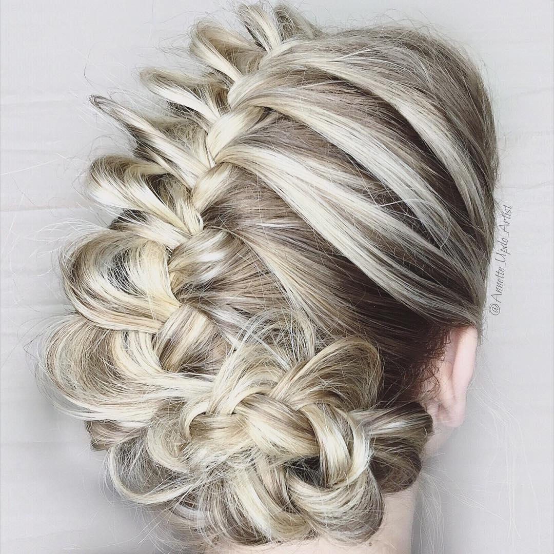 flower wedding updo for blonde ombre hair