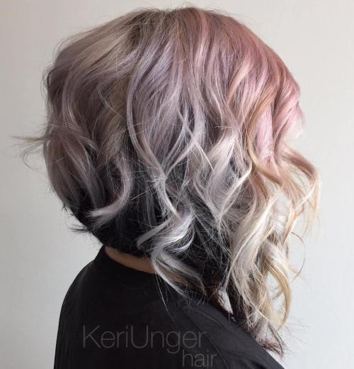 Black And Pastel Layered Wavy Bob