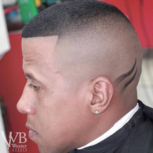 high fade with shaved designs for black men