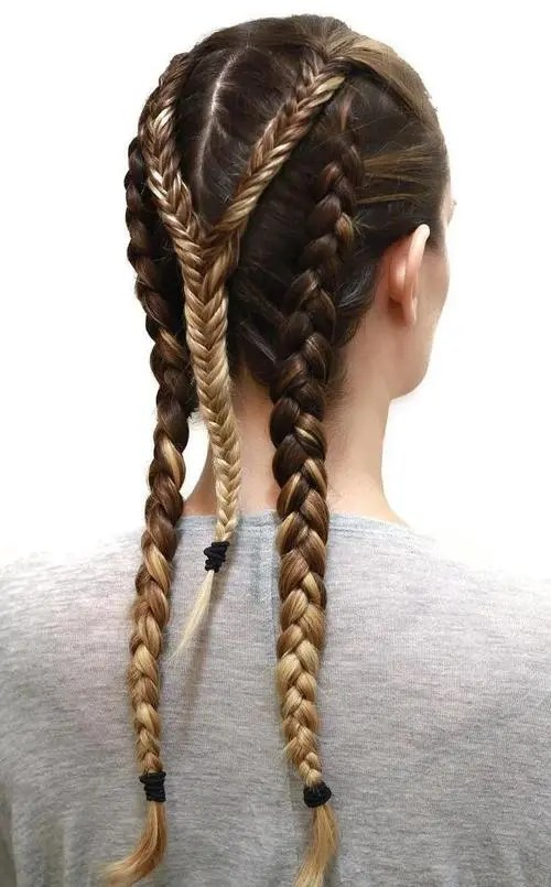 triple braid sporty hairstyle