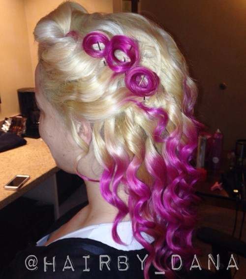 blonde and magenta pin up hairstyle