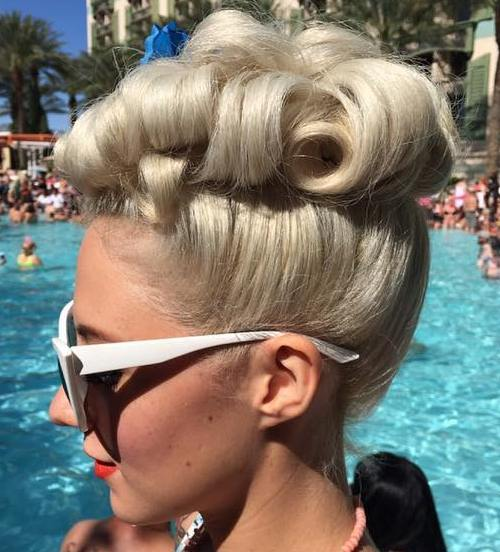 blonde curly pin up updo