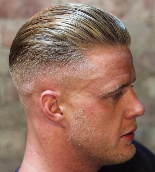slicked back men's hairstyle