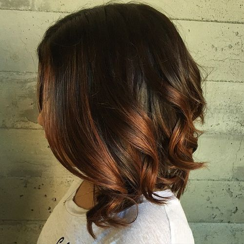 40 vivid ideas for black ombre hair long dark brown bob with copper ombre highlights pmusecretfo Choice Image