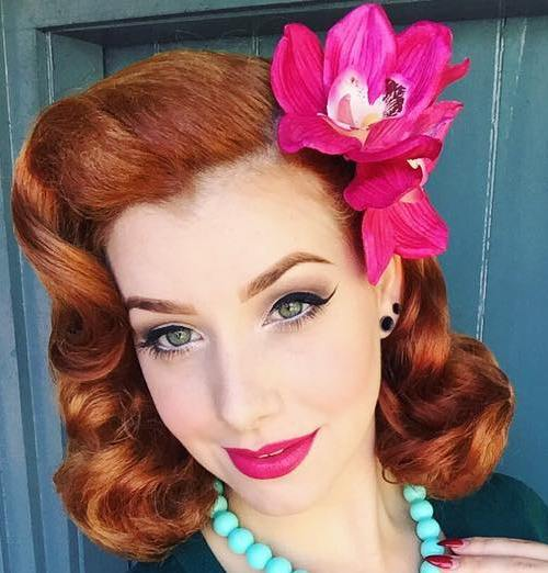 Medium Red Pin Up Hairstyle
