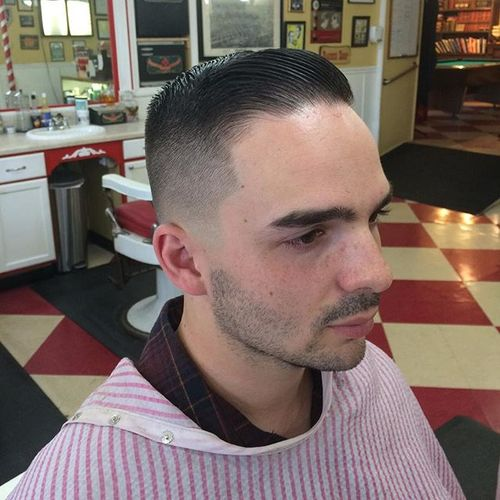 slicked back military haircut