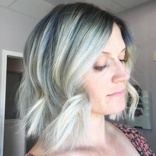 blue wavy bob hairstyle