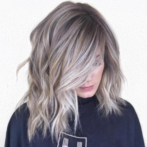 Gray Balayage Highlights With Golden Babylights