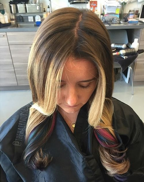 pink and blue peek-a-boo highlights