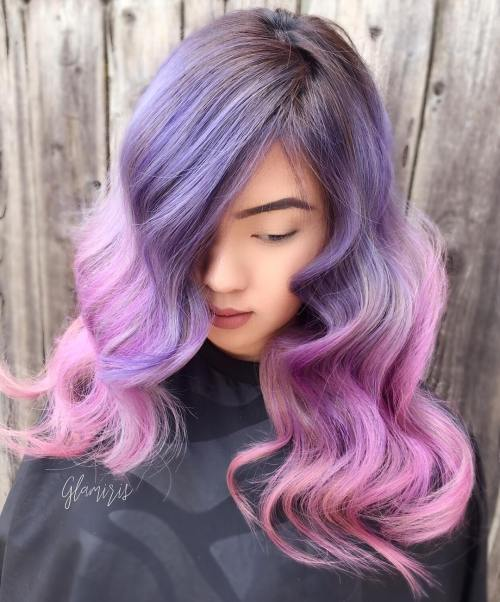 purple to pink long ombre hair