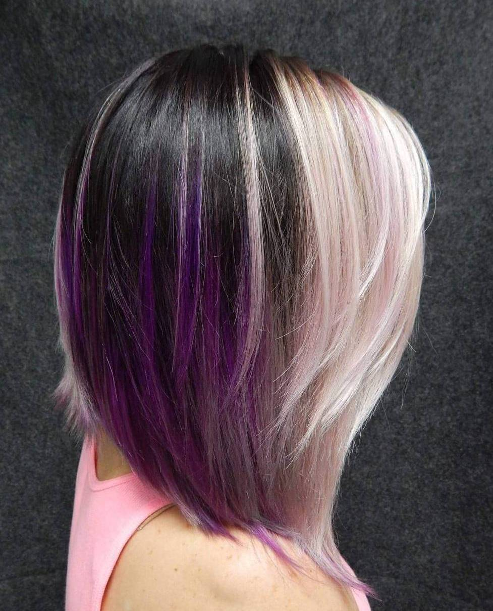 Blonde And Brown Hair With Purple Highlights