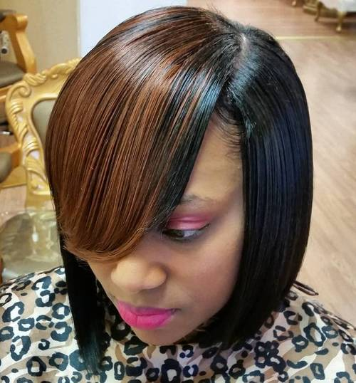 bob weave with side swoopy bangs