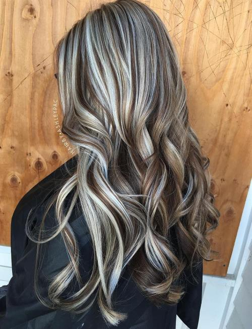 Brown And Silver Balayage Hair