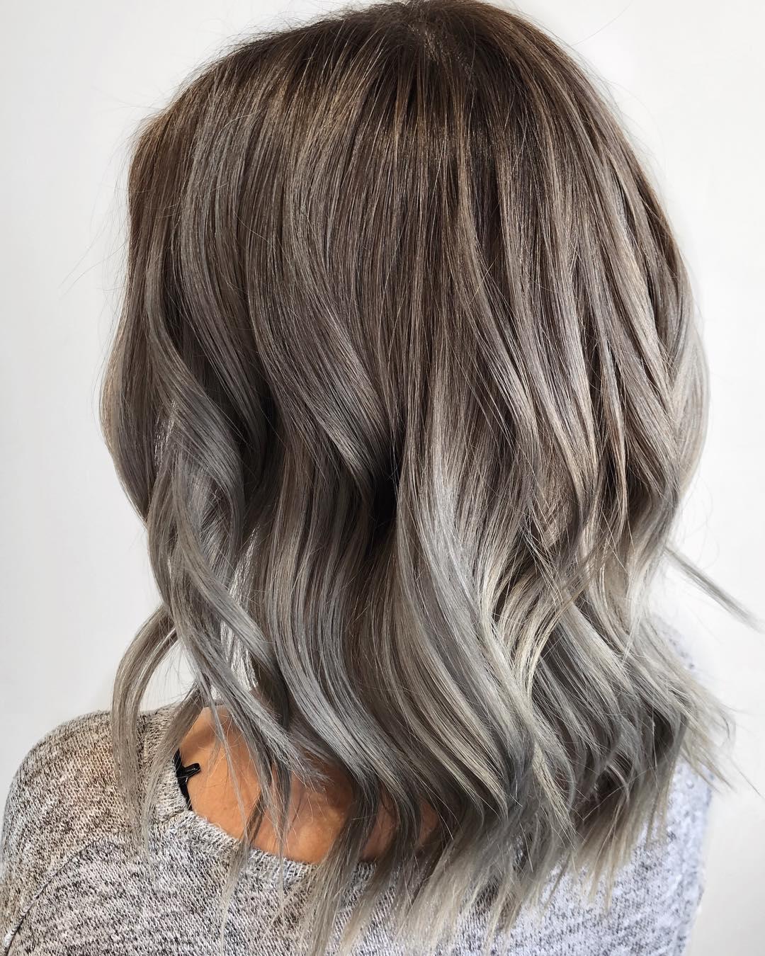Light Brown Hair With Gray Balayage