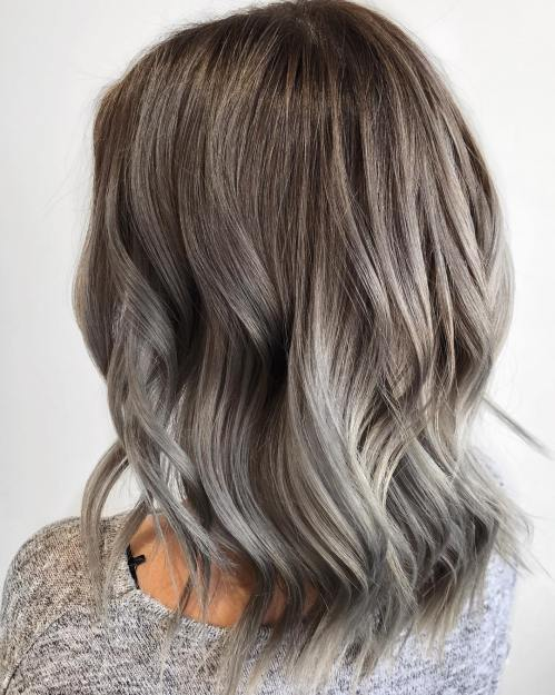 Light Brown Hair With Gray Balayage