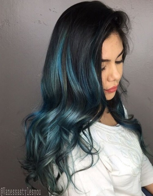 Gimme the blues bold blue highlight hairstyles long black hair with blue highlights pmusecretfo Image collections