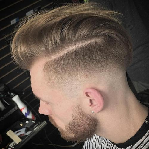 side part with fade and facial hairstyle