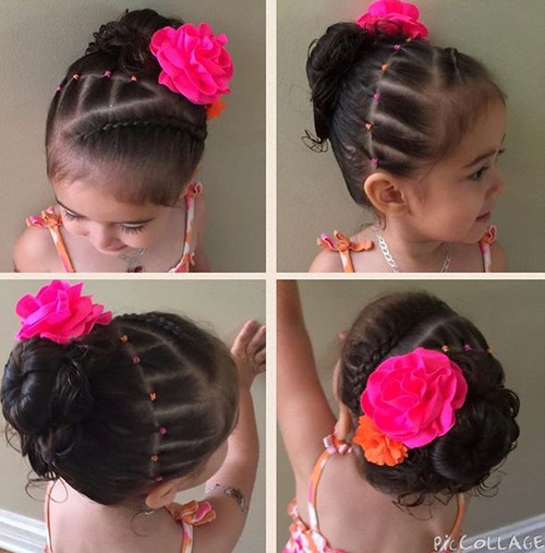 hair style for toddler girl 20 adorable toddler hairstyles 5631 | 8 braid and bun with a flower updo for toddlers