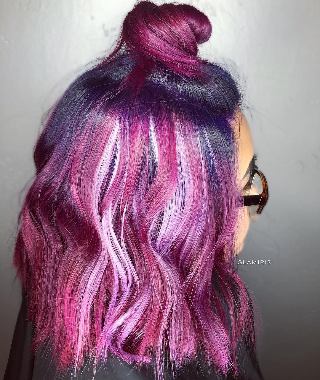 40 Versatile Ideas Of Purple Highlights For Blonde, Brown
