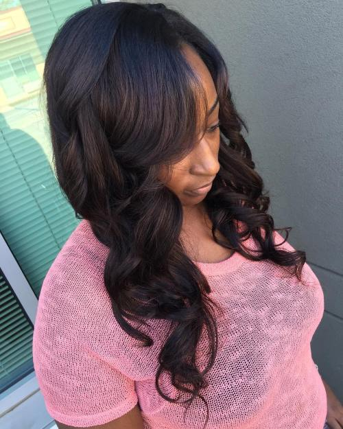 Long Curly Sew In Hairstyle