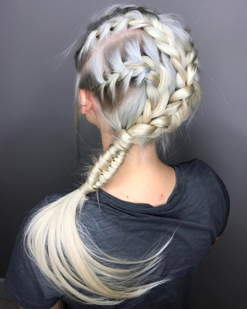 Triple Side Braid Hairstyle