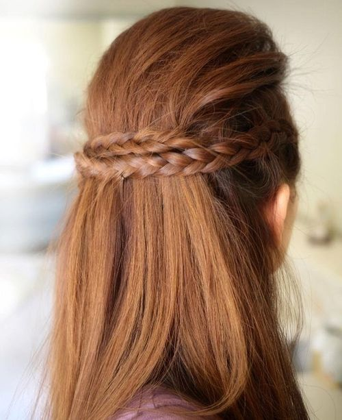 half braided updo with a bouffant