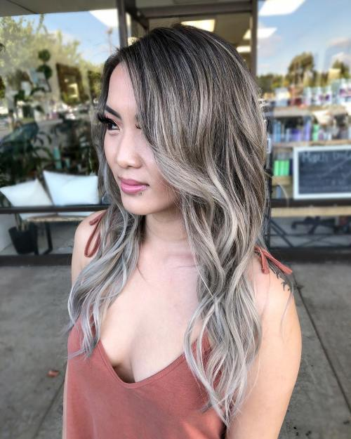 Long Brown Gray Balayage Hair