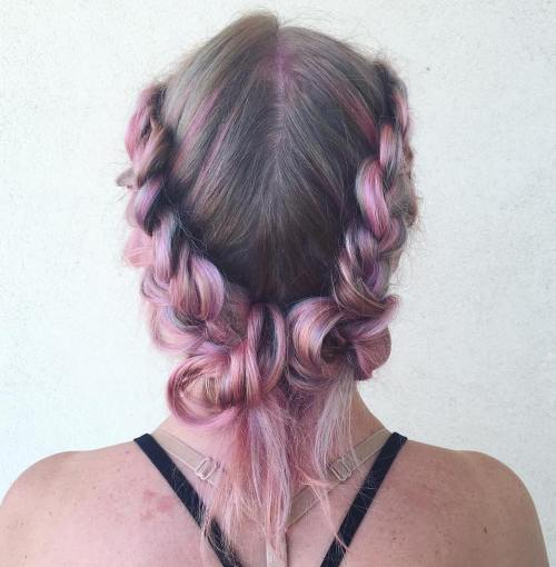 Pastel Pink Two Buns With A Braid